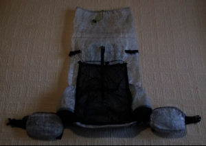 Homemade Cuben Fiber Backpack w/Hip Belt Pockets (1.43 oz/yd2): 10.50 oz